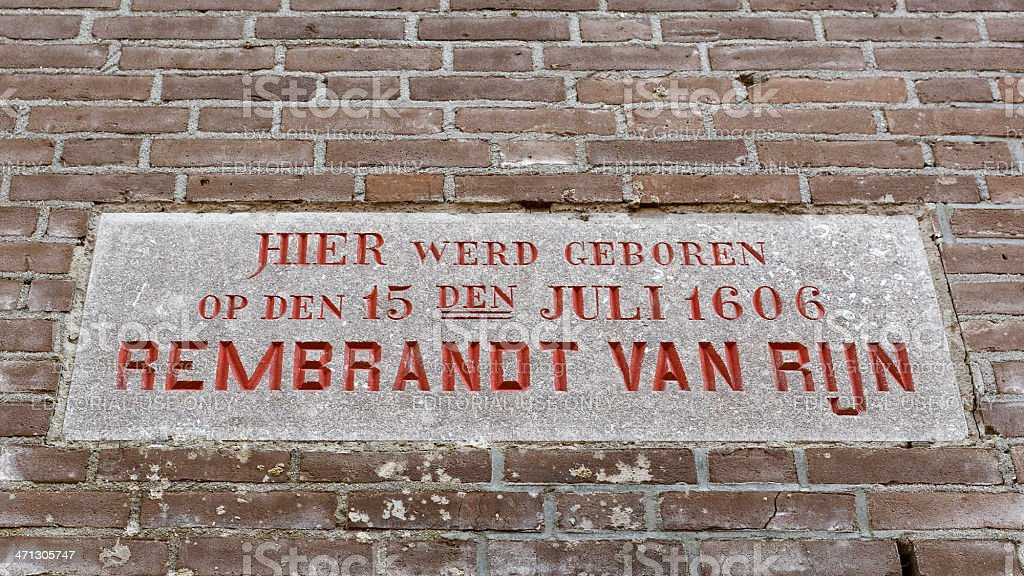 Memorial stone Rembrandt's birthplace stock photo