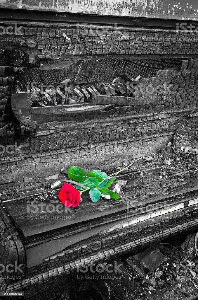 Memorial symbol of burnt piano stock photo