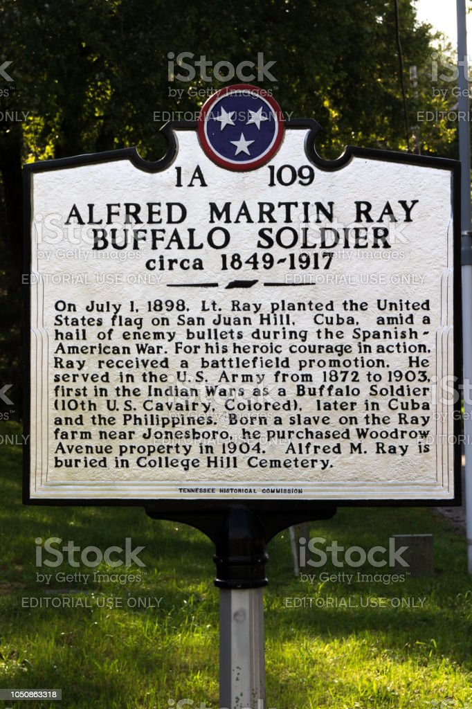 Memorial to Buffalo Soldier, Alfred Martin Ray stock photo
