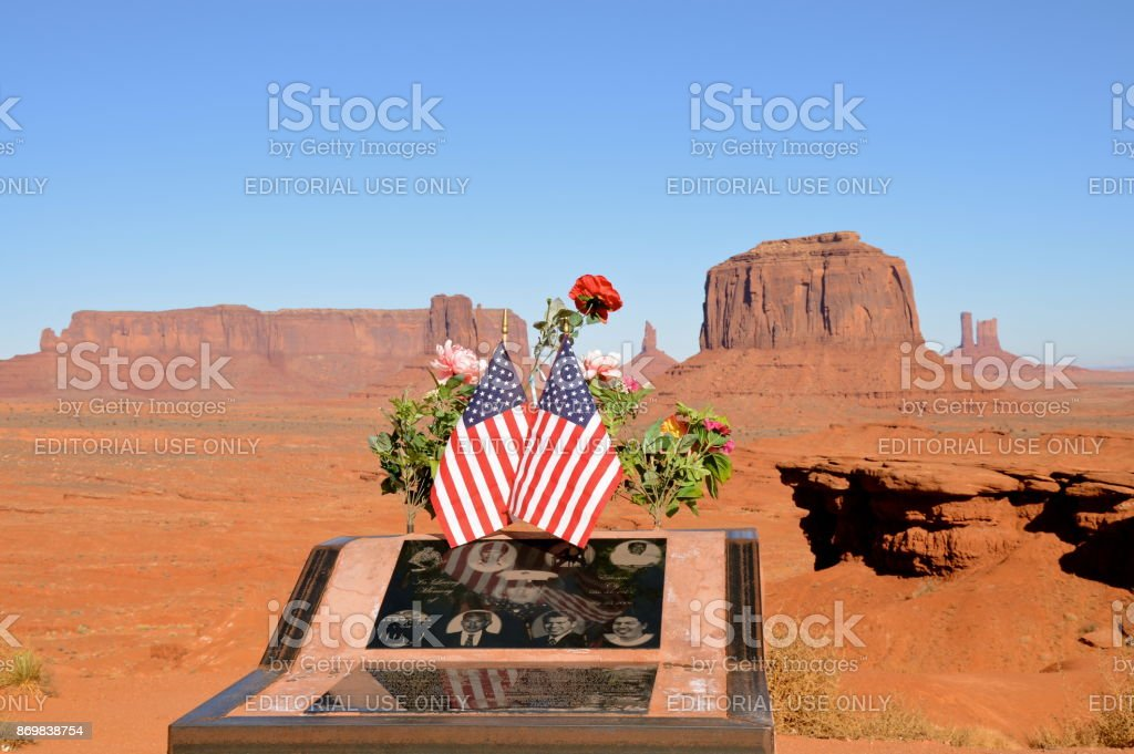Memorial to Native American Soldier stock photo