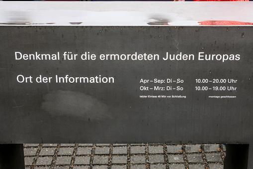 Memorial to the Murdeed Jews of Europe sign in Berlin