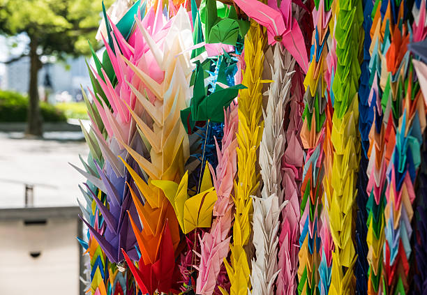 memorial tower to the mobilized students - origami mobil stock-fotos und bilder