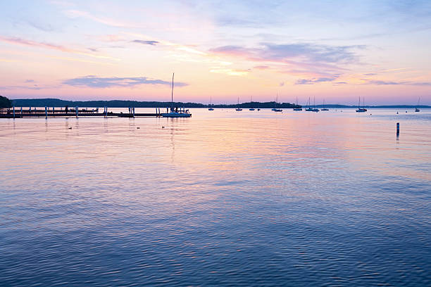 Memorial Union Sunset in Madison, Wisconsin stock photo