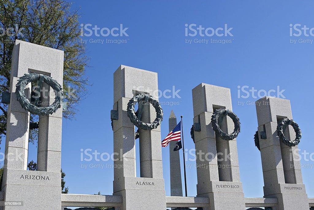 WWII Memorial & Washington Monument royalty-free stock photo