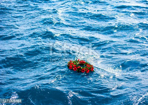 Memorial wreaths on the sea