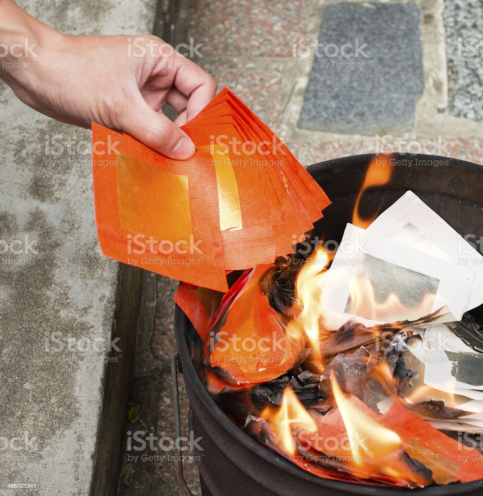 Memorial,Burning Mingbi,A Chinese-style ceremony stock photo