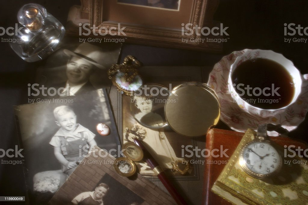 Memories collection. Antique, vintage photographs, collectibles. stock photo