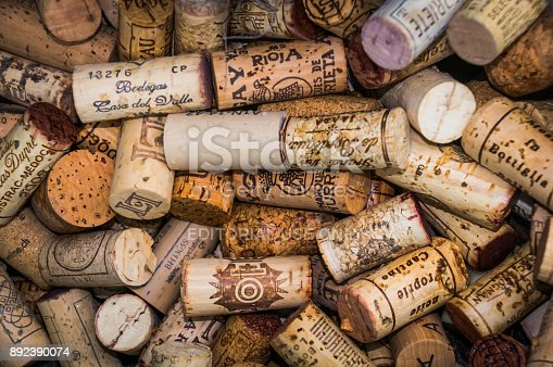 Valduz, Liechtenstein.-May 24, 2016-A close up of an array of discarded wine corks of many vitners outside a cafe in  Valduz, Liechtenstein.