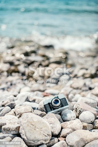 camera on  the beach