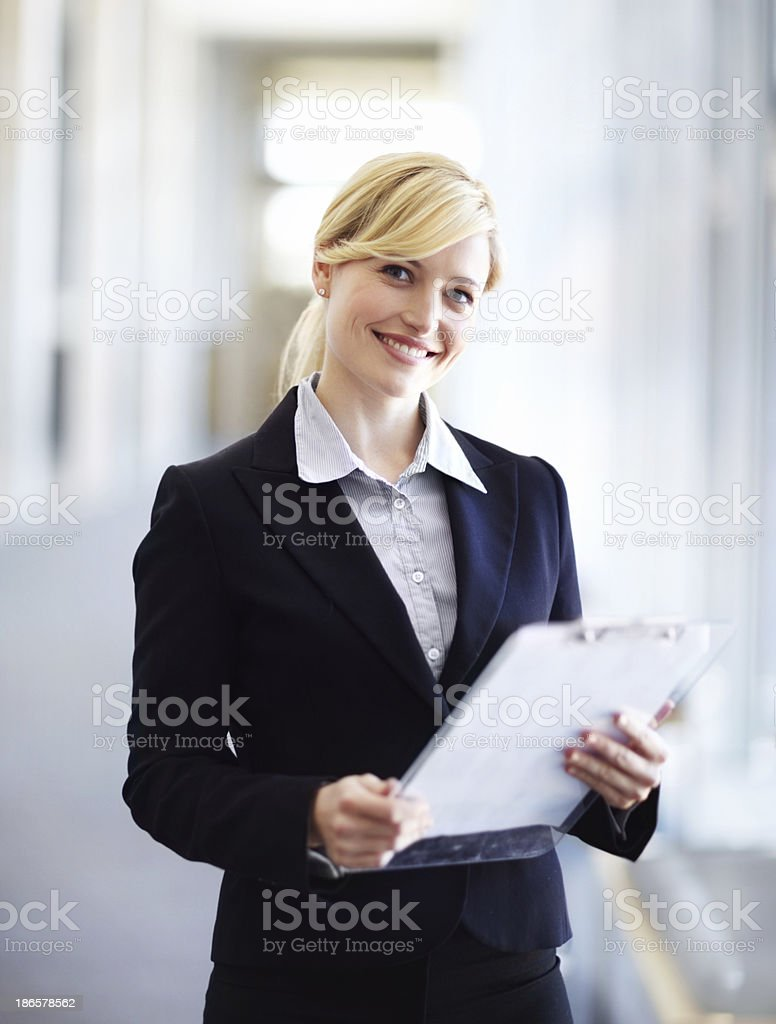 Memorising her points for the meeting stock photo