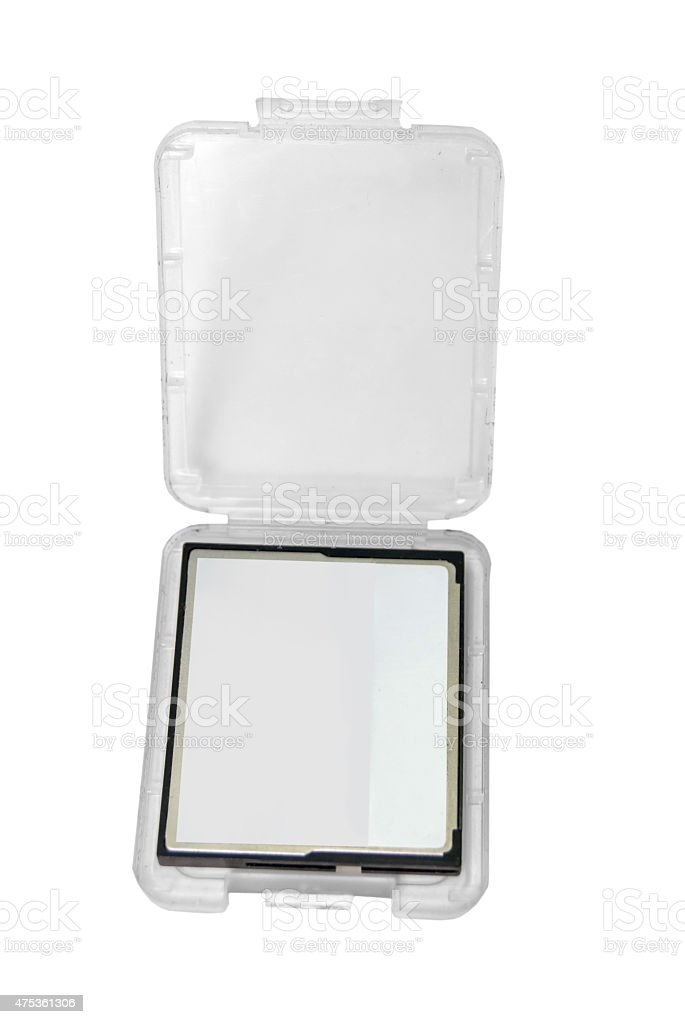SD memory card in plastic box isolated on white stock photo