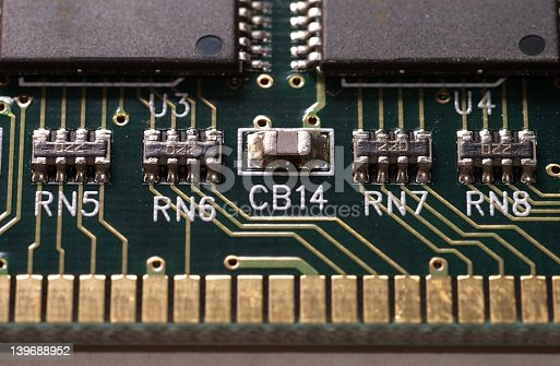 A detailed macro of a memory module showing compenents, pathways and connectors
