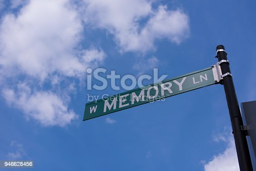 Memory Lane street sign against blue sky with white clouds