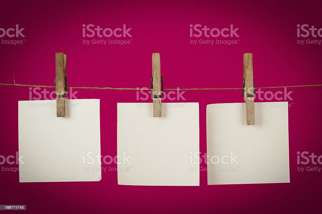 Memory note papers hanging on cord royalty-free stock photo