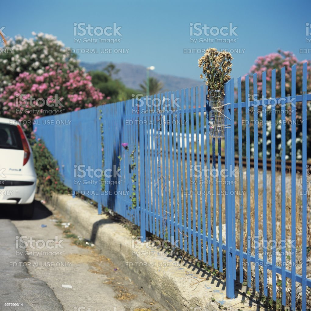 Memory of a car accident - Tragic road memorial stock photo