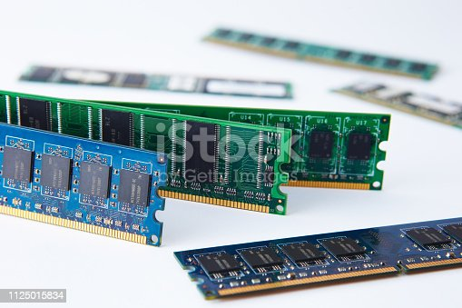 chips of RAM on a white background