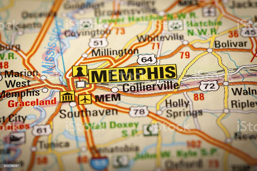 Memphis City on a Road Map stock photo