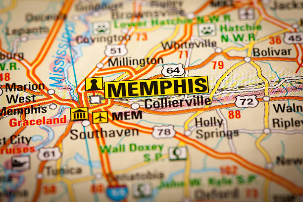memphis city on a road map - tennessee map stock photos and pictures