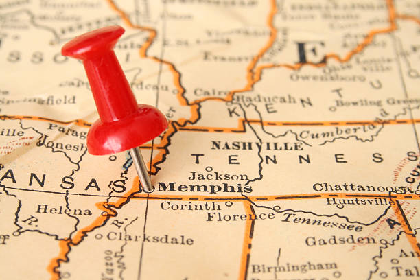 memphis - tennessee map stock photos and pictures