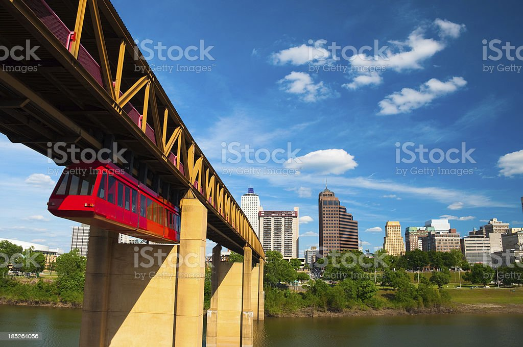 Memphis skyline and tram stock photo