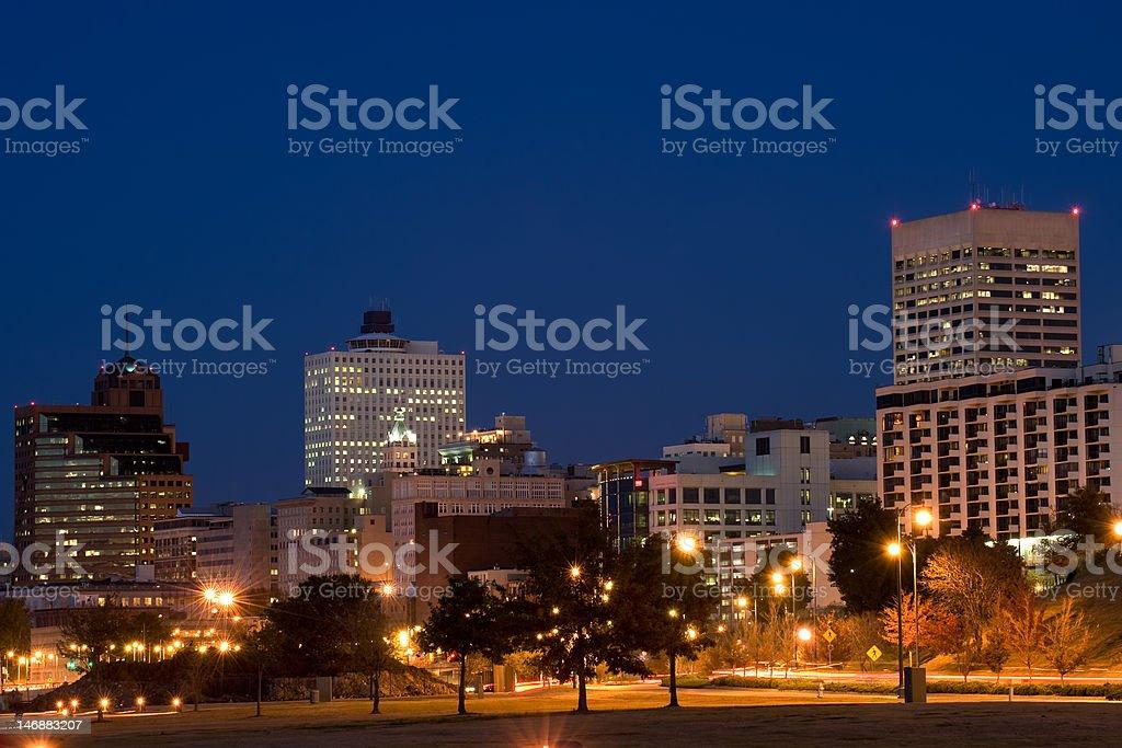Memphis skyline at night stock photo