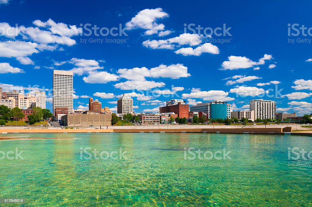 Memphis skyline with clouds and water stock photo