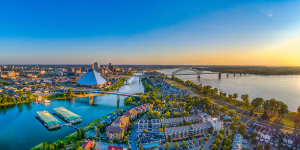 Memphis Tennessee TN Downtown Drone Skyline Aerial Memphis Tennessee TN Downtown Drone Skyline Aerial. tennessee stock pictures, royalty-free photos & images