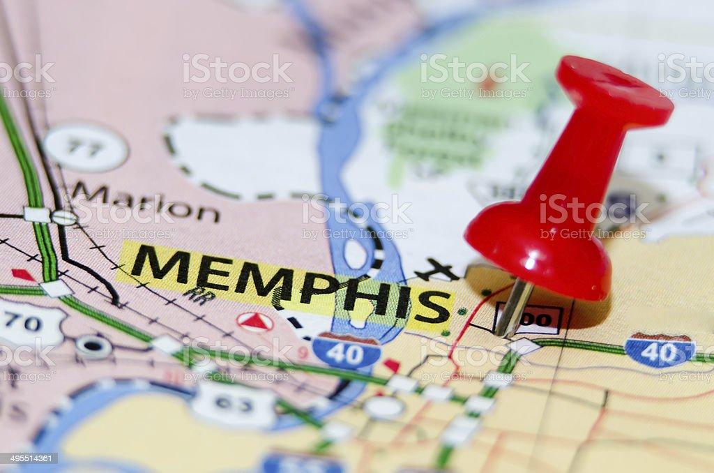 memphis tn city pin on the map stock photo