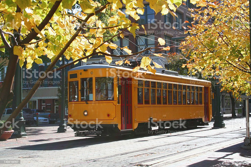Memphis trolley runs throughout town stock photo