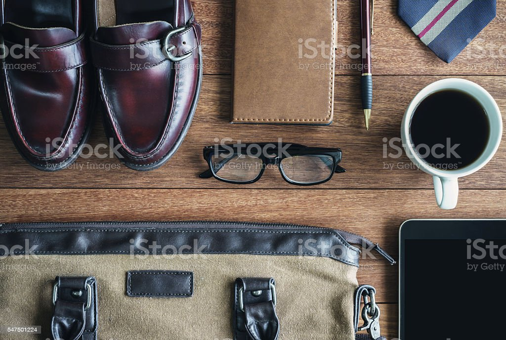 men accessories on old wooden background, Business themes stock photo