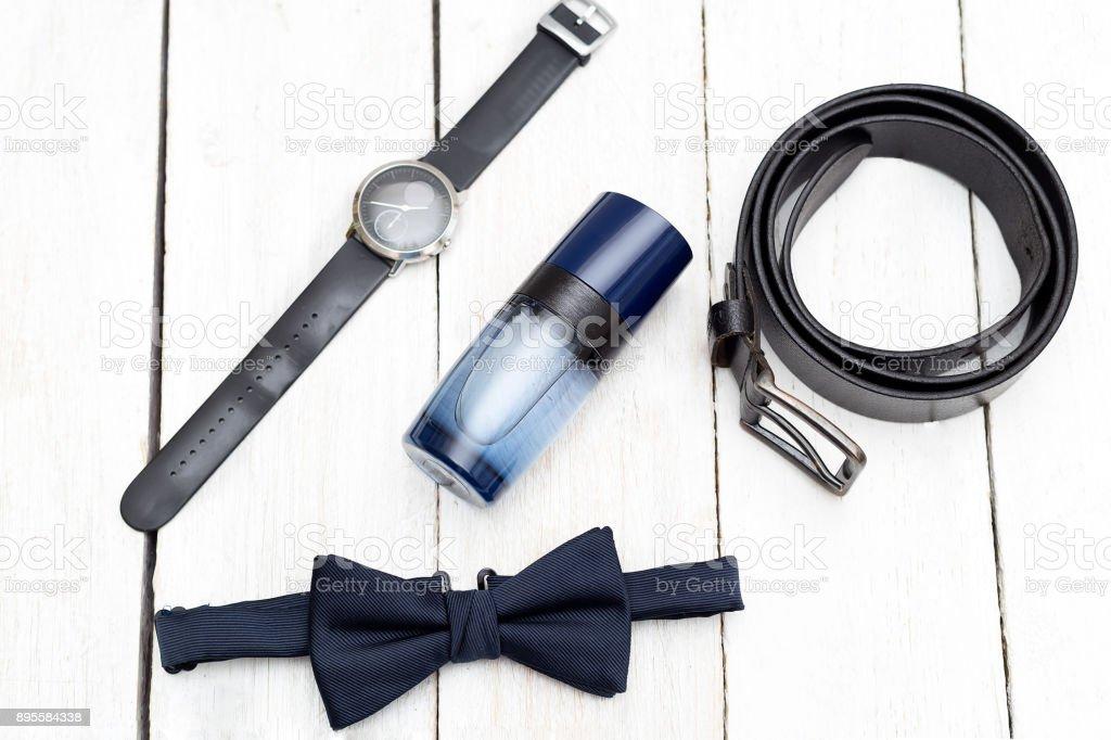 Men accessories, Still life. Business look. Flat lay stock photo