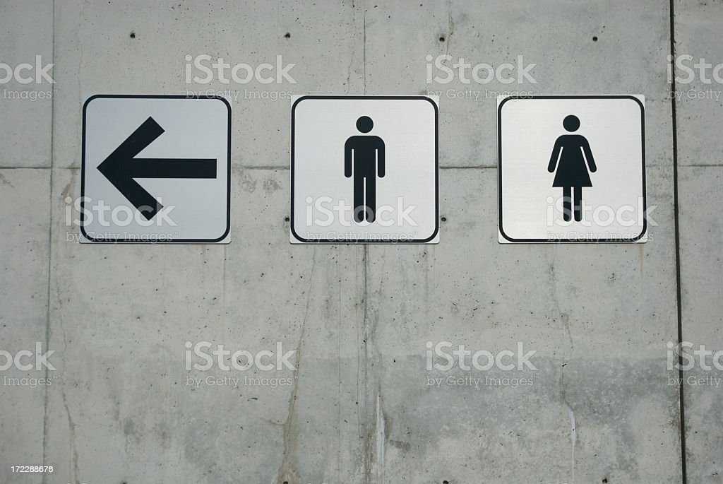 Men and Ladies Signs on Smooth Concrete Wall stock photo