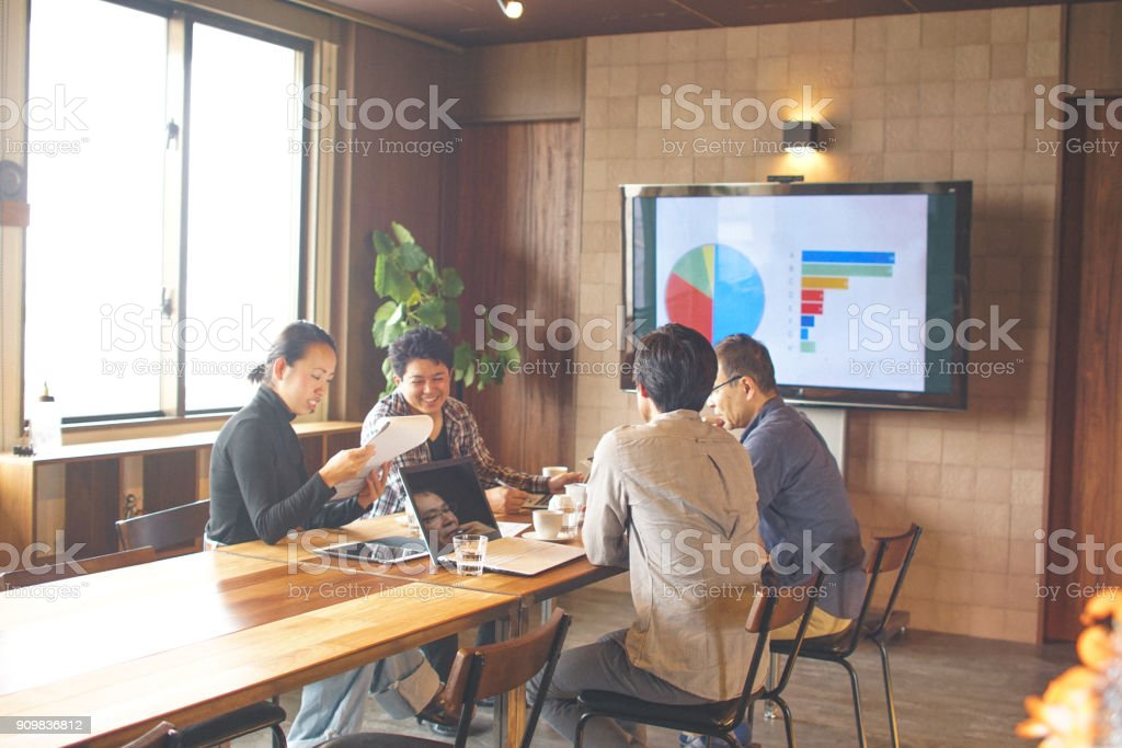 Men and women meeting in the Japanese office stock photo