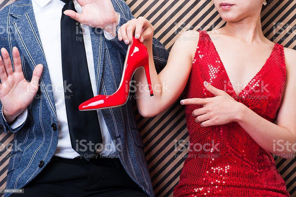 Men and women quarrel royaltyfri bildbanksbilder