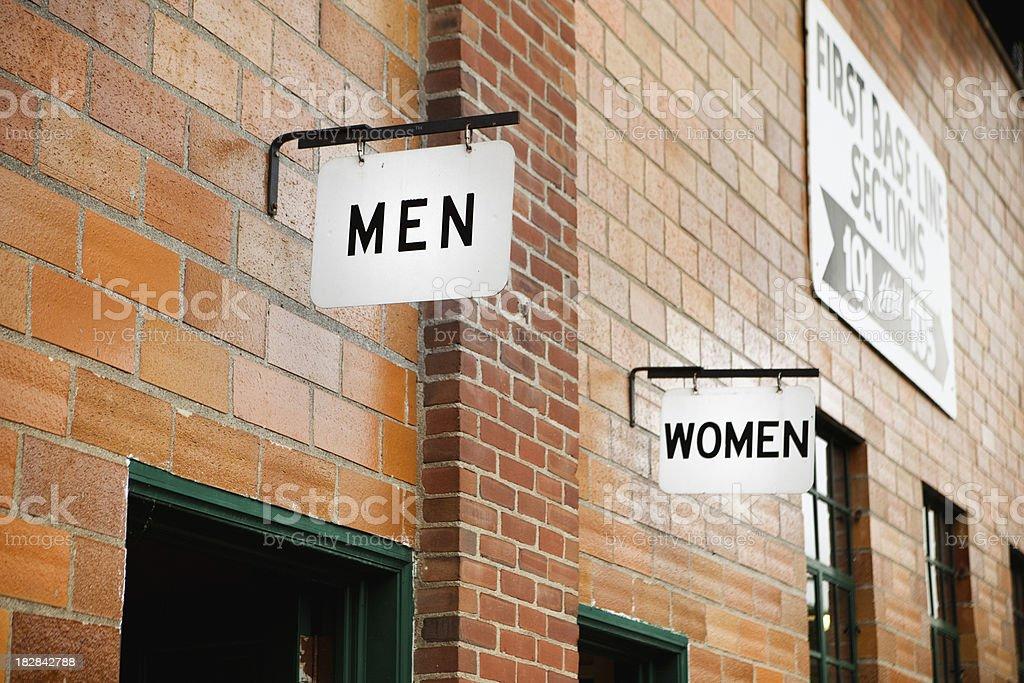 Men and womens bathroom royalty-free stock photo