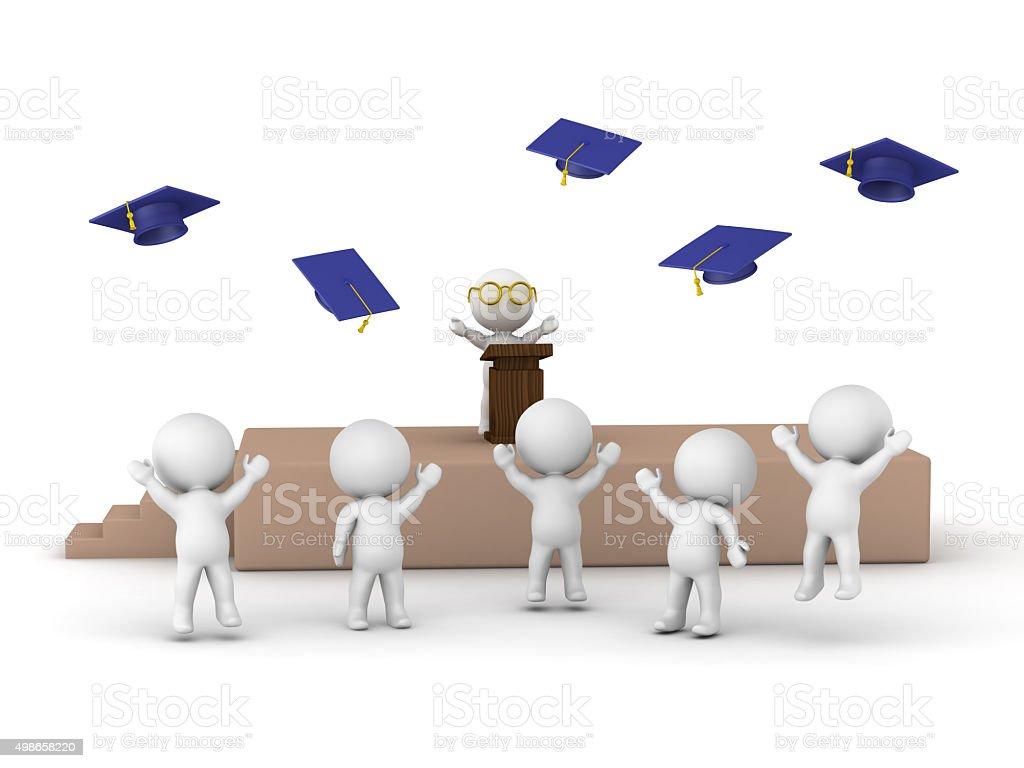 3D men at graduation stock photo