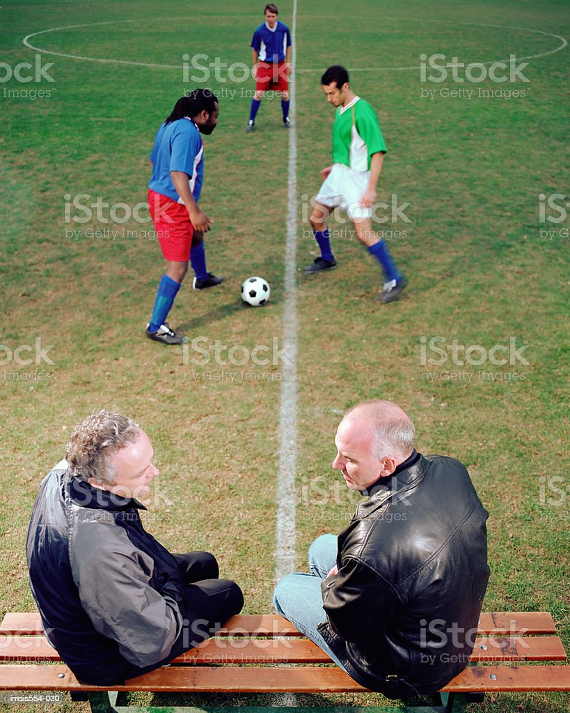 Men at soccer game royalty-free stock photo