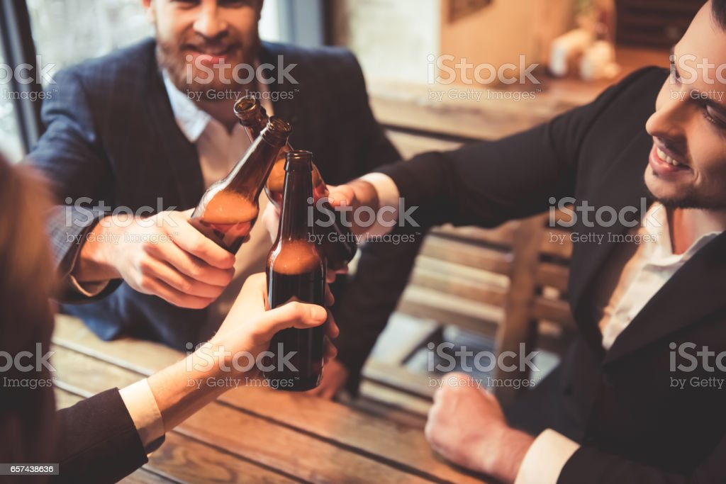 Men at the pub stock photo