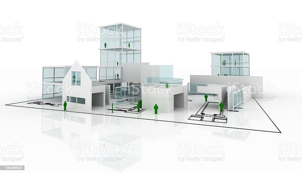 Men at work: house construction (isolated on-white) royalty-free stock photo