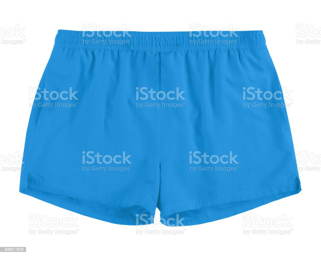 Men azure blue swim sport beach shorts trunks isolated on white stock photo