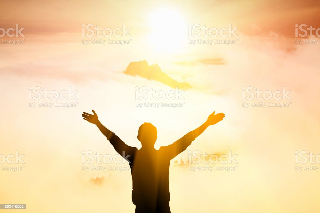 Men believe in Christ the Lord stock photo
