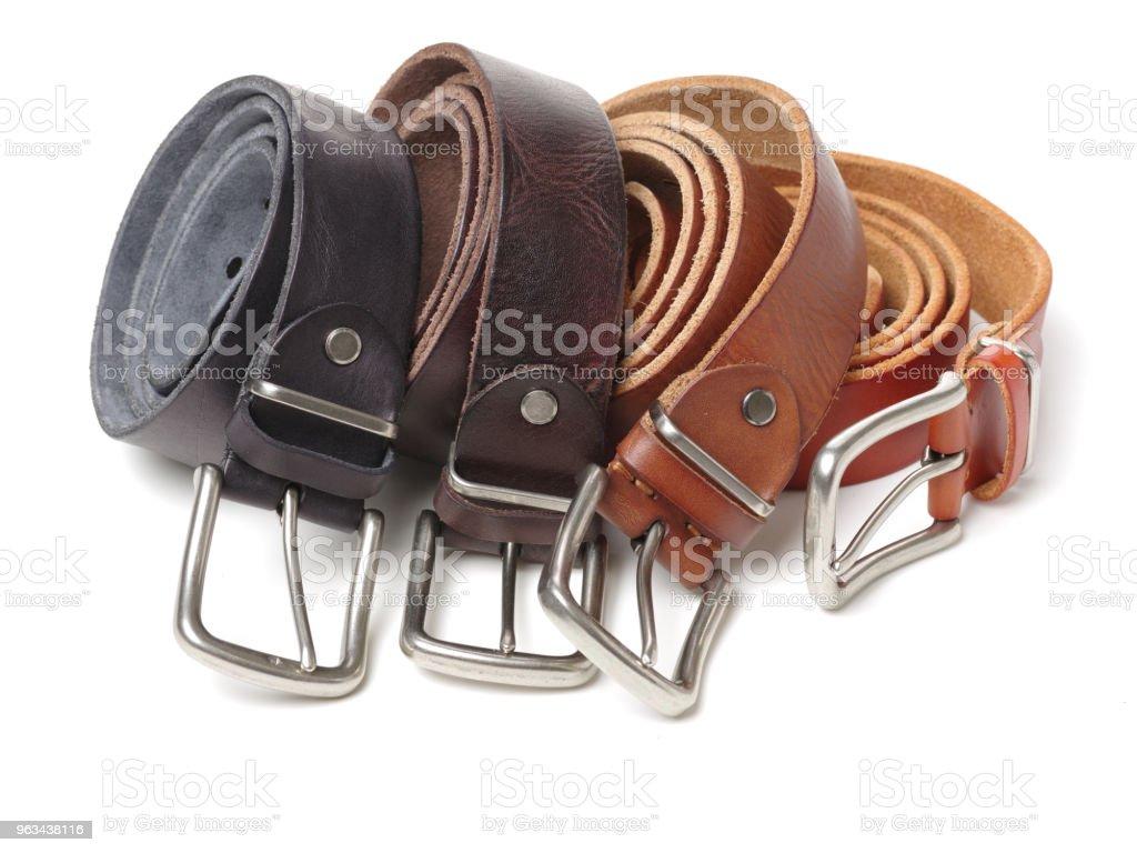 Men black and brown belt isolated on white background - Zbiór zdjęć royalty-free (Bez ludzi)