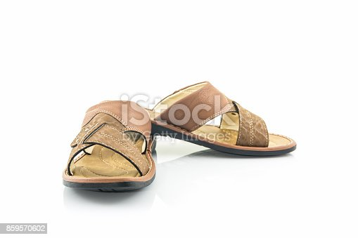 Men brown leather sandals or flip flop shoes on white background.