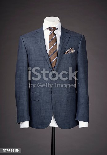 men business suit on grey background.
