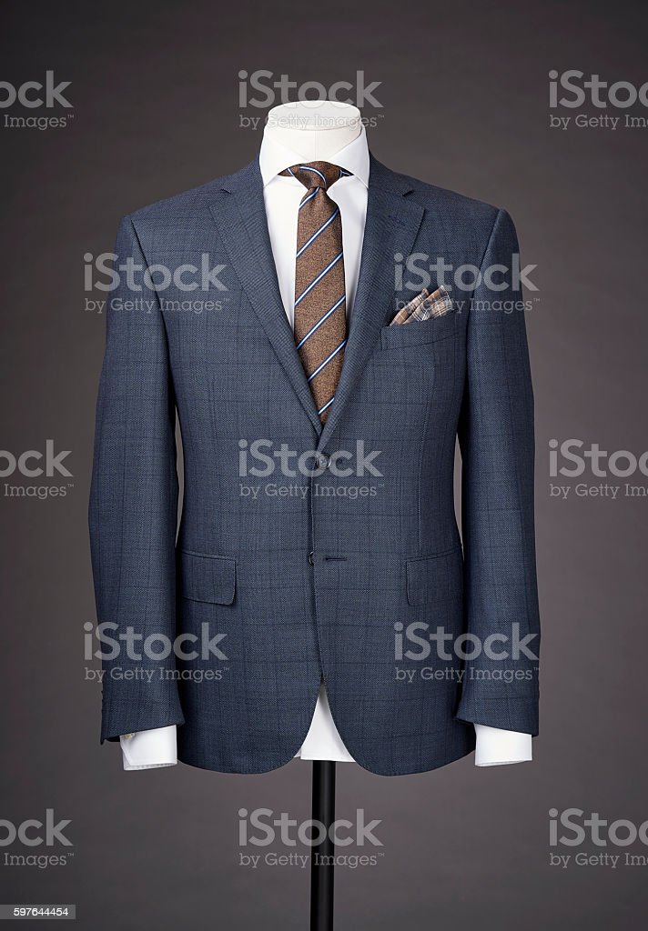 men business suit on grey background stock photo