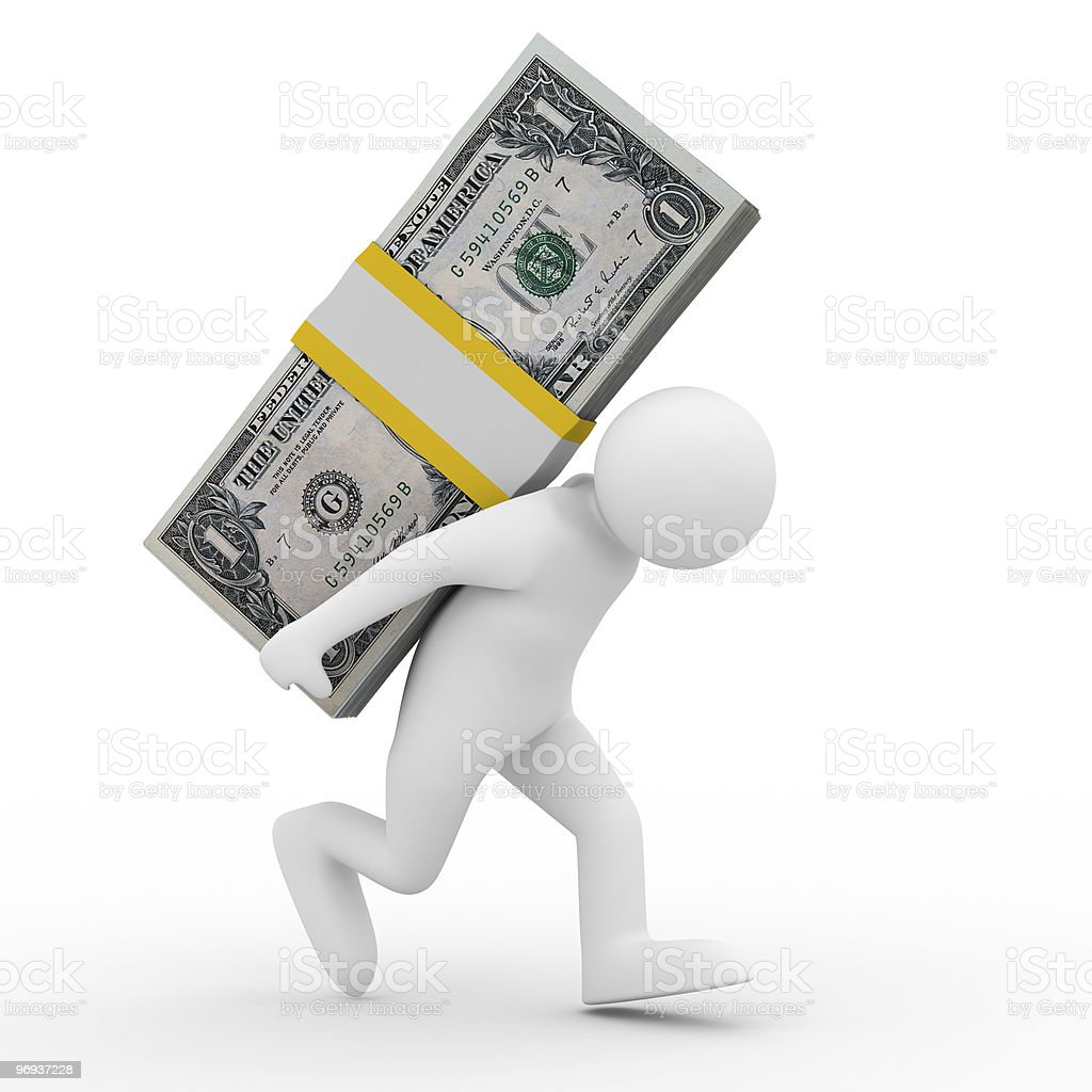 men carry dollars on back. Isolated 3D image royalty-free stock photo