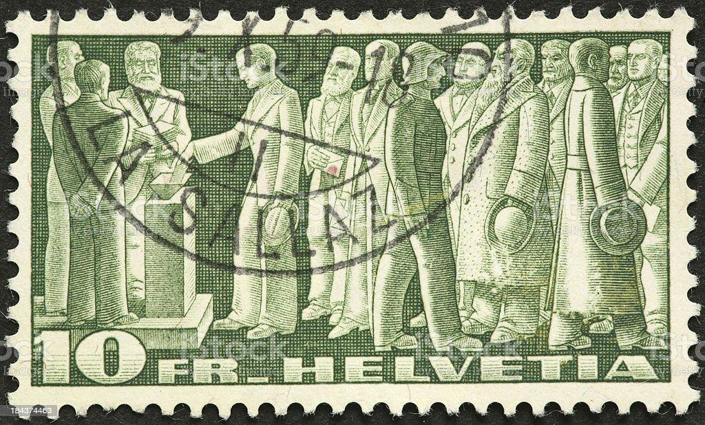 Herren Angeln stimmen auf einer alten Schweizer Briefmarke – Foto