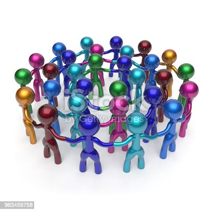 688200936istockphoto Men characters large circle crowd, social network group people 963459758