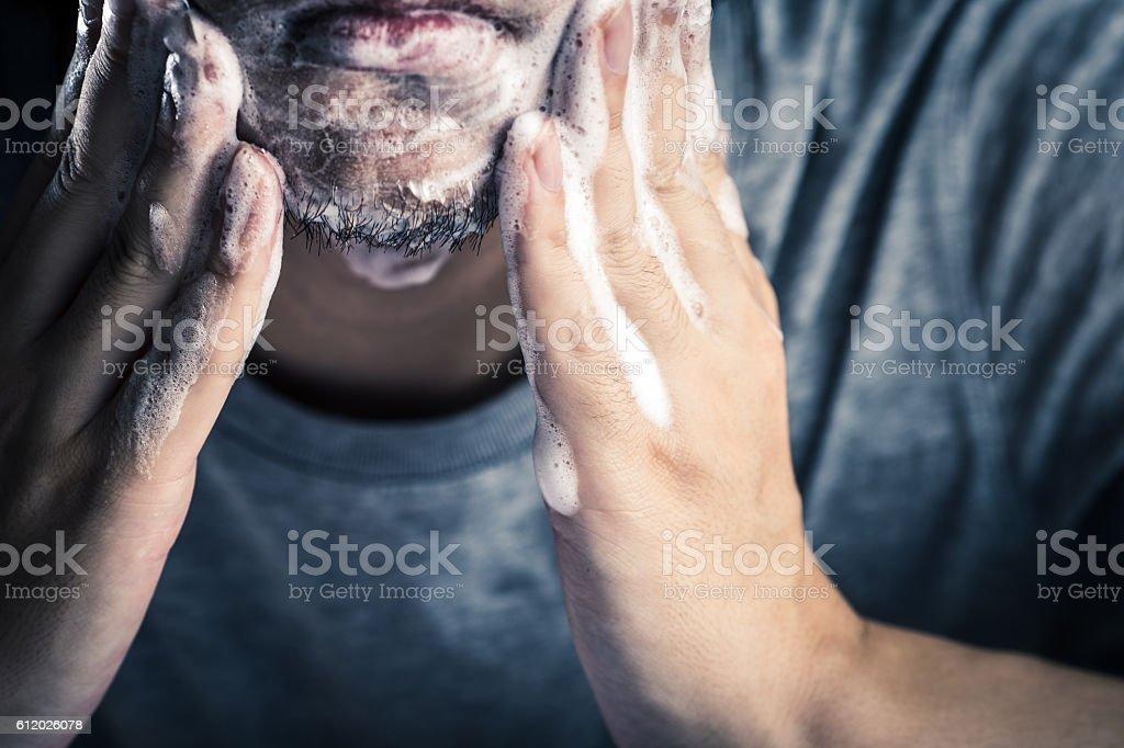 Men cleansing stock photo