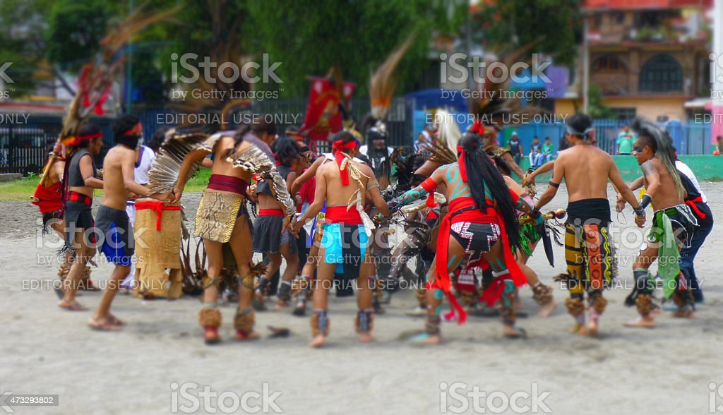 Men community in Mexico city doing a mexica wedding ceremony. stock photo